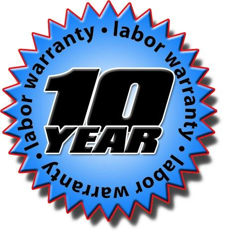 10 Year Labor Warranty on Equipment