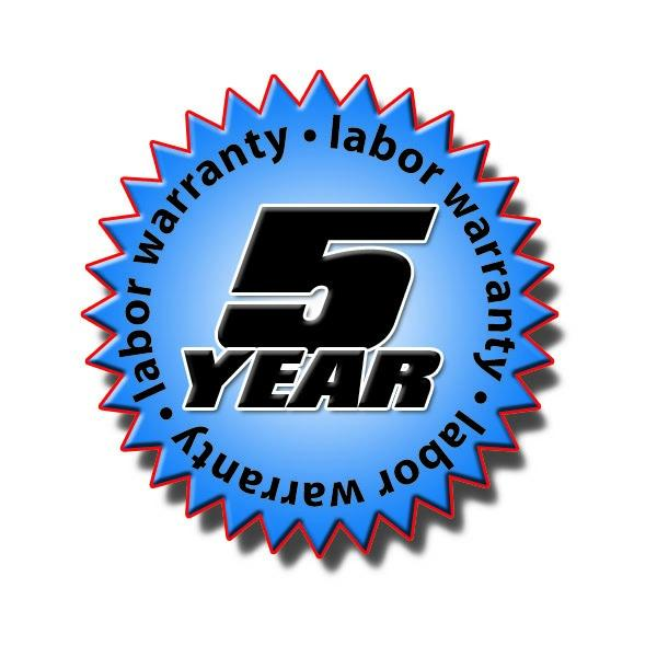 5 Year Labor Warranty on Equipment