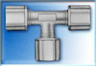 """3/8"""" Union Tee Connector with three 3/8"""" Compression Nuts"""